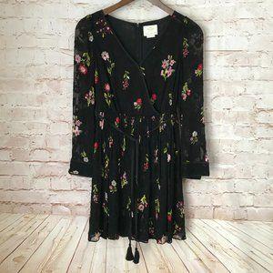 KATE SPADE Black Floral Lace Dress Size 4 Silk
